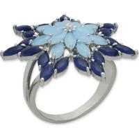 Anel Flor Com Zircônias Azuis E Banho Em Prata Aro 15 E 19