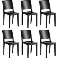 Conjunto Com 6 Cadeiras De Plástico Hydra Preto