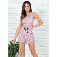 Macaquinho Pijama Rosa Bebê Poá