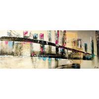 Quadro Pintura Ponte Abstr Colorido Fullway