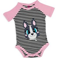 Pijama Manga Curta Baby Puket Bulldog Rosa Incolor