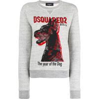 Dsquared2 Blusa De Moletom Com Estampa 'The Year Of The Dog' - Cinza