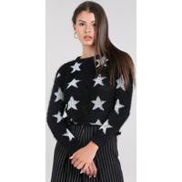 Suéter Feminino Estampado Com Estrelas Em Tricô Com Pelo Preto