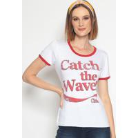 """Blusa """"Catch The Wave!""""- Branca & Vermelha- Coca-Colcoca-Cola"""