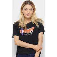 Blusa Ellus Jersey Glitter Feminina - Feminino-Preto