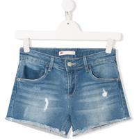 Levi'S Kids Bermuda Jeans Com Efeito Desgastado - Azul
