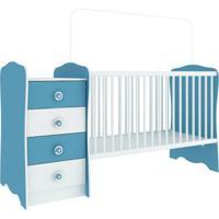 Berço Com Mesa De Cabeceira Baby Estrela Branca E Azul