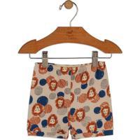 Short Leões- Nude & Azul Marinhoup Baby - Up Kids