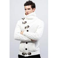 Cardigan Masculino Design Rolê Elegante - Branco Xg