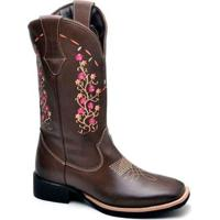 Bota Top Franca Shoes Texana - Feminino-Marrom