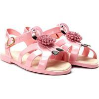 Sandália Infantil World Colors Verniz Aplique Flamingo Feminina - Feminino-Rosa Claro