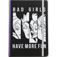 """Caderno Estampado De Vilãs """"Bad Girls Have More Fun"""" Sem Pauta 20,5Cm X 14,5Cm Preto"""