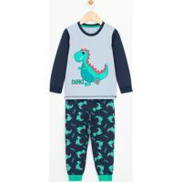 Pijama Infantil Com Estampa Dinossauro Brilha No Escuro - Tam 1 A 4