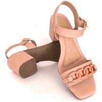 Sandália Salto Grosso Lolitta Fashion Corrente
