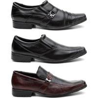 Kit 3 Pares Sapato Social Hshoes Couro Conforto Elegante Masculino - Masculino-Marrom
