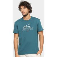 Camiseta Tommy Jeans Assinatura Masculina - Masculino-Verde+Branco