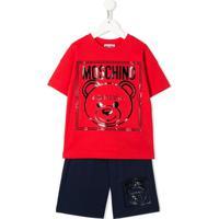 Moschino Kids Conjunto 2 Peças Com Camiseta E Short - Vermelho
