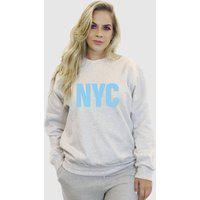 Blusa Moletom Feminino Moleton Básico Suffix Cinza Claro Estampa New York City Azul Bebe