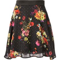 Loveless Saia Com Estampa Floral - Preto