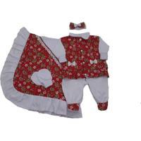 Kit I9 Baby Saída De Maternidade 4 Peças Floral Vermelha