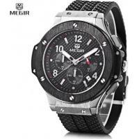 Relógio Megir 3002G Masculino Pulseira De Silicone - Preto E Prateado