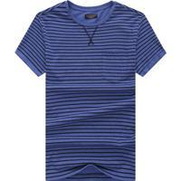 Camiseta Listrada Detail V - Azul Escuro G