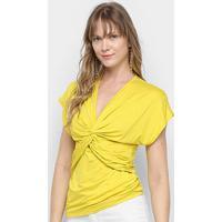 Blusa Colcci Transpassada Feminina - Feminino-Amarelo