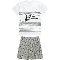 Pijama Branco Estampa Brilha No Escuro