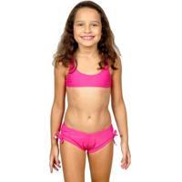 Sunguete Drapê Lateral Infantil Mrsol - Feminino-Rosa
