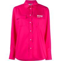Msgm Camisa Com Bolso - Rosa