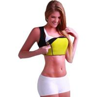 Camiseta Modeladora Redutora De Medidas Neoprene Feminina - Feminino-Preto+Amarelo