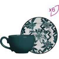Conjunto De Xícaras De Chá Floral- Verde & Branco- 6Scalla Cerâmica