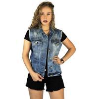 Colete Jeans Clothify Marmorizado Feminino - Feminino-Azul