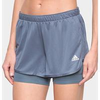 Short Adidas Marathon 20 2 Em 1 Feminino - Feminino-Azul