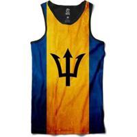 Regata Bsc Bandeira Barbados Sublimada Masculina - Masculino-Preto