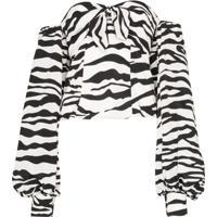 Attico Blusa Mangas Bufantes Com Estampa De Zebra - Branco