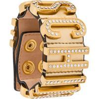 Moschino Pulseira Com Placa De Logo - Dourado