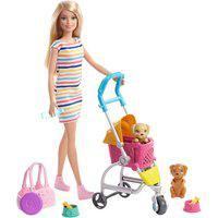 Boneca Barbie Passeio Carrinho De Cachorrinhos Mattel