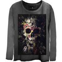 Camiseta Estonada Manga Longa Skull Garden