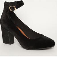 Sapato Tradicional Aveludado Com Fivela - Preto- Salmya Haas