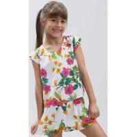 Conjunto Infantil De Blusa Estampada Floral Manga Curta + Short Com Laço Branco