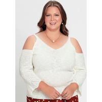 Blusa Tricô Off White Com Ombros Vazados