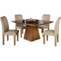 Conjunto De Mesa Pietra 0.90M Com Vidro Serigrafado Preto Com 4 Cadeiras Pietra Castanho Tecido Veloart Bege Lj Móveis
