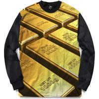 Blusa Bsc Fine Gold Full Print - Masculino-Preto