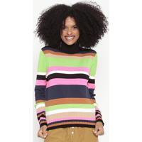 Blusa Em Tricô Listrada - Preta & Pink Neon - Wool Lwool Line