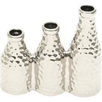 Vaso Decorativo Com 3 Furos- Prateado- 16X17X6Cmrojemac