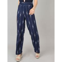 Calça Feminina Pantalona Estampada Floral Azul Marinho