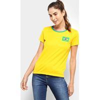 Camisa Brasil Torcedor Feminina - Feminino-Amarelo