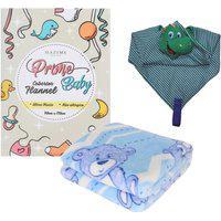 Kit 2 Peças Acessórios Para Bebê Inverno Naninha Cobertor Azul