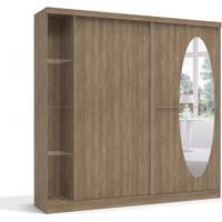 Guarda-Roupa De Casal Alegria Com Espelho 2Pt 3Gv Nogal